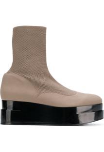 Clergerie Ankle Boot Plataforma De Couro - Neutro