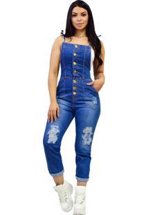 Macacão Jardineira Jeans Longa - Ewf Jeans - Destroyed Estilo Retrô - Azul Escuro