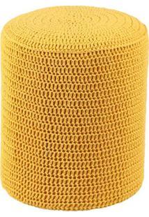 Puff Round Crochê Mostarda
