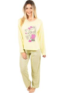 Pijama Bella Fiore Modas Longo Fran Amarelo - Tricae
