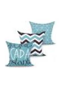 Capa De Almofada Para Sala Estampada Decorativa Kit Com 3 Unidades 45Cm X 45Cm Com Zíper