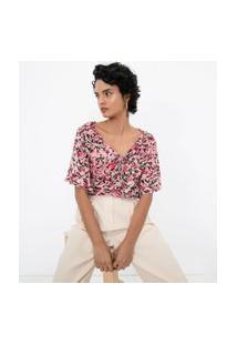 Blusa Manga Borboleta Estampa Floral Com Amarração | Cortelle | Rosa | G