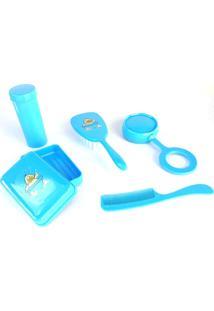 Kit Banho Para O Bebê Lullybebê Com Pente, Escova, Saboneteira Infantil, Porta Cotonetes E Chocalho Azul