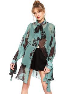 Camisa Seda Forum Alongada Verde