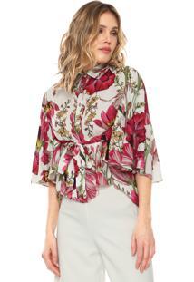 Camisa Lança Perfume Estampada Com Amarração Branca/Rosa