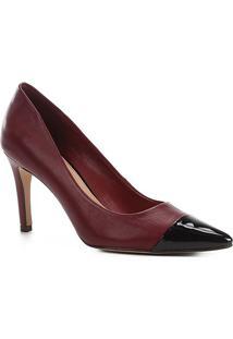 Scarpin Couro Shoestock Salto Alto Bicolor