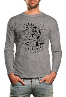 Camiseta Manga Longa Hshop Snake Cinza Mescla