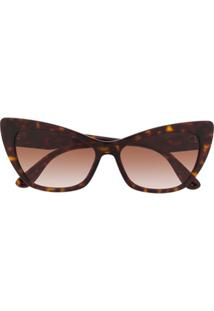 Dolce & Gabbana Eyewear Óculos De Sol Gatinho Dg4370 - Marrom