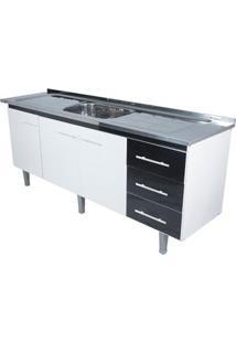 Gabinete De Cozinha Lyon 53X193,4Cm Branco E Preto Bonatto