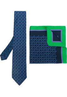Etro Gravata E Lenço De Bolso Em Seda - Azul