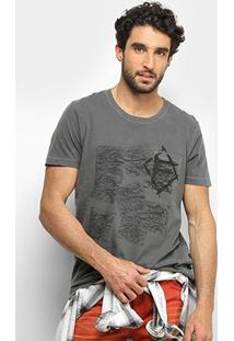 Camiseta Forum Cartas Bolso Masculina - Masculino-Chumbo