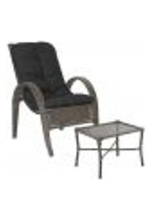 Jogo Cadeira 1Un E Mesa P/ Jardim Edicula Varanda Descanso Trama Napoli Plus Pedra Ferro A37