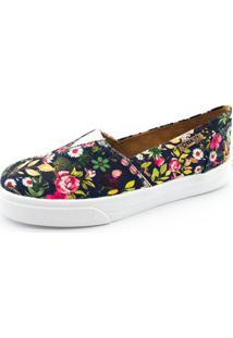 Tênis Slip On Quality Shoes Feminino 002 Floral Azul Marinho 200 36