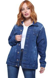 Jaqueta Feminina Jeans Com Strass Crocker Azul
