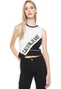 Regata Calvin Klein Jeans Bicolor Assimétrica Branca/Preta