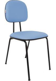 Cadeira De Escritório Palito Secretária Fixa Polo Corano Azul Claro