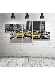 Quadro Decorativo - Ny-Taxi-Amarelo - Composto De 5 Quadros - Multicolorido - Dafiti