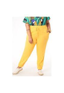 Calça Lisa Twill Rayon Plus Size Amarelo