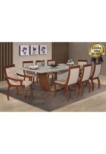 Conjunto De Mesa Luna 01 - 200 C/ 08 Cadeiras Perolas Mobillare - Imbuia - Floral Bege/ Bege Liso 29