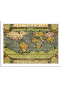 Quadro Decorativo Mapa Mundi Antigo Branco - Médio