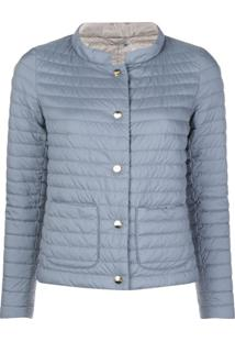 Herno Collared Padded Jacket - Azul