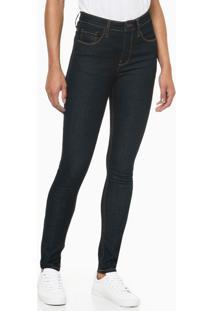 Calça Jeans Feminina Five Pockets Skinny Cintura Alta Azul Marinho Costura Laranja Calvin Klein - 34