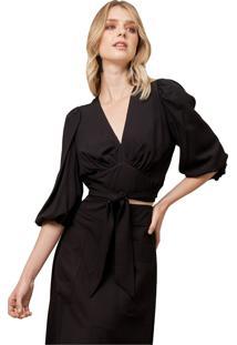 Blusa Mx Fashion De Viscose Com Mangas Bufantes Bella Preta - Kanui