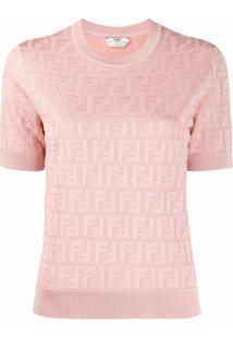 Fendi Blusa De Tricô Com Aplicação Ff - Rosa