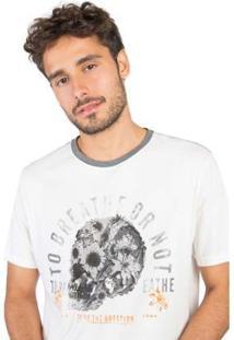 Camiseta Estampada Taco Masculina - Masculino-Off White