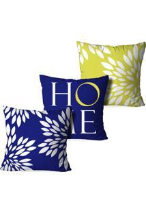 Kit 3 Capas Para Almofadas Decorativas Love Decor Home Multicolorido Azul