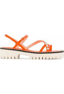 Jimmy Choo Sandália Com Aplicação De Tachas - Laranja
