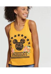 Blusa Estampa Mickey Sem Mangas Disney Feminina - Feminino-Amarelo