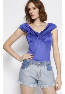 Body Ombro A Ombro Com Franzido - Azul - Lança Perfulança Perfume