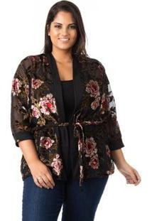Kimono Floral De Tule E Renda Plus Size Confidencial Extra Feminina - Feminino-Preto