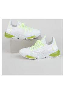 Tênis Feminino Zatz Knit Com Cadarço Neon Branco