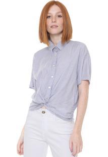 Camisa Coca-Cola Jeans Listrada Torção Branca/Azul