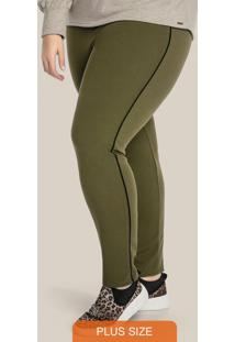 Legging Plus Size Com Contraste Lateral Verde