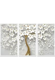 Quadro 65X105Cm Flores Cerejeiras Brancas Moldura Sem Vidro 3D