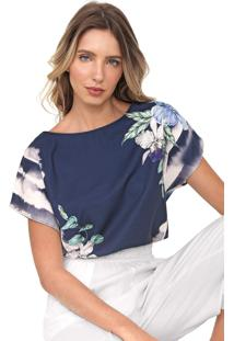 Blusa Dimy Estampada Azul-Marinho/Off-White