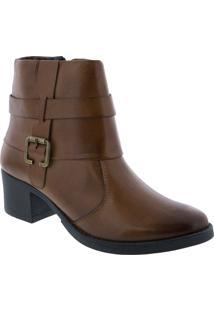 Ankle Boot Penélope Salto Bloco Detalhe Em Fivela Marrom