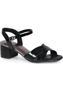 Sandália Salto Grosso Ramarim Deluxe Preto