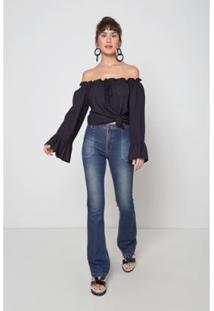Calça Jeans Oh, Boy! Bolso Carpinteiro Jeans Feminina - Feminino-Azul
