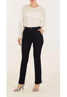 Calça Iódice Reta Cós Alto Bolso Faca Jeans Feminina - Feminino