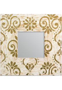 Espelho Com Moldura- Espelhado & Dourado- 24X1,2X24Cdecor Glass