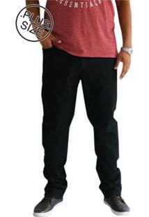 Calça Masculina Plus Size Shyro'S Jeans Básica Preta