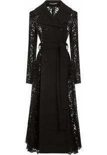 Dolce & Gabbana Trench Coat Com Amarração Na Cintura E Aplicação De Renda - Preto