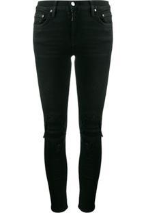 Amiri Calça Jeans Skinny Com Efeito Puído - Preto
