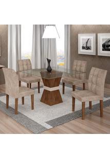 Conjunto De Mesa De Jantar Com 4 Cadeiras Vitória Veludo Chocolate E Off White