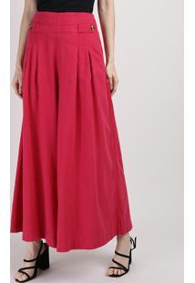 Calça Feminina Mindset Pantalona Cintura Super Alta Com Bolsos E Martingale Rosa Escuro
