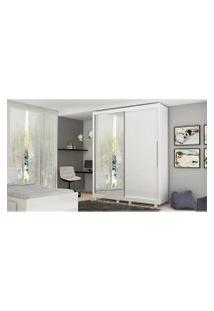 Guarda Roupa Pérola 2 Portas E 1 Porta Com Espelho Branco Gelius Móveis